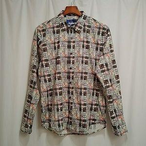 Decidual rainbow button down shirt size medium